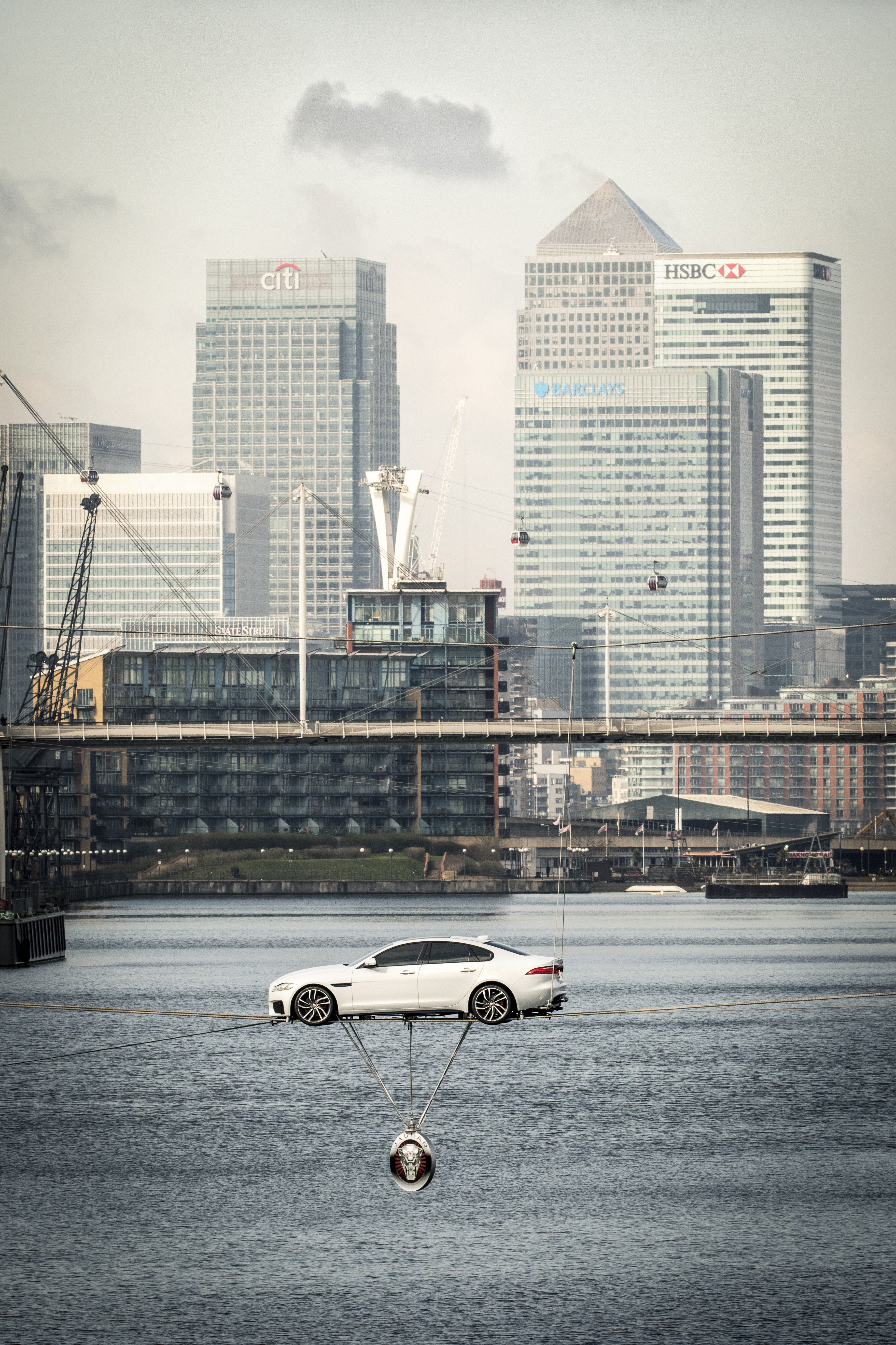 All-New Jaguar XF Performs World's Longest High-Wire Water