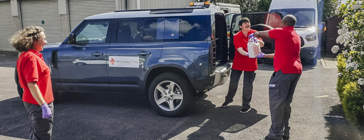 British Red Cross Volunteers from Bristol use Land Rover Defenders to deliver support packages for those in need
