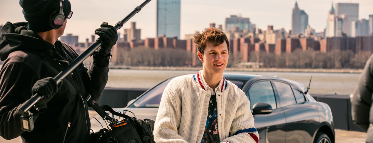 'BABY DRIVER' ANSEL ELGORT TESTS SKILL IN ELECTRIC JAGUAR I-PACE AHEAD OF US DEBUT AT NEW YORK AUTO SHOW