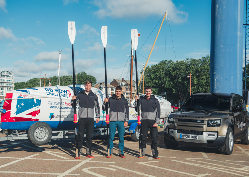 Land Rover and watch maker Elliot Brown are right behind a team rowing 2,000 miles around the UK coast for charity.